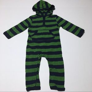Leveret Baby Blue & Green Striped Footless PJs